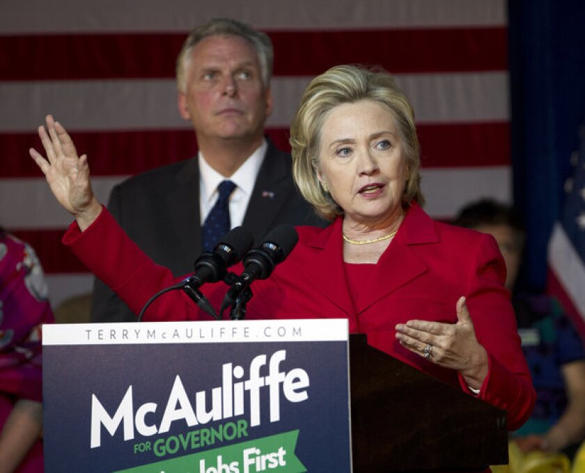 Former Secretary of State Hillary Clinton speaks at a campaign rally for Virginia gubernatorial candidate Terry McAuliffe.