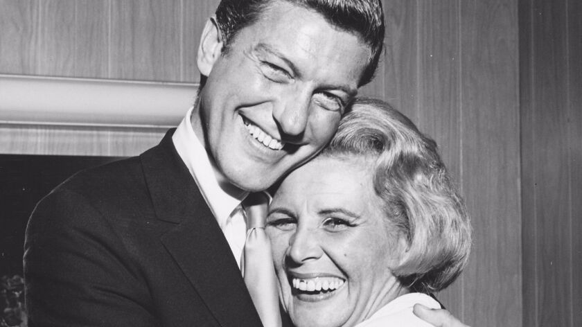 """(R-L) - Dick Van Dyke and Rose Marie in a still photograph from the movie """"Wait for Your Laugh."""" Cre"""