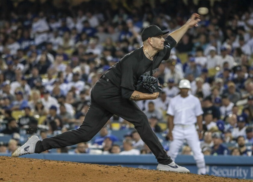Yankees starting pitcher James Paxton delivers a pitch during the sixth inning against the Dodgers on Friday.