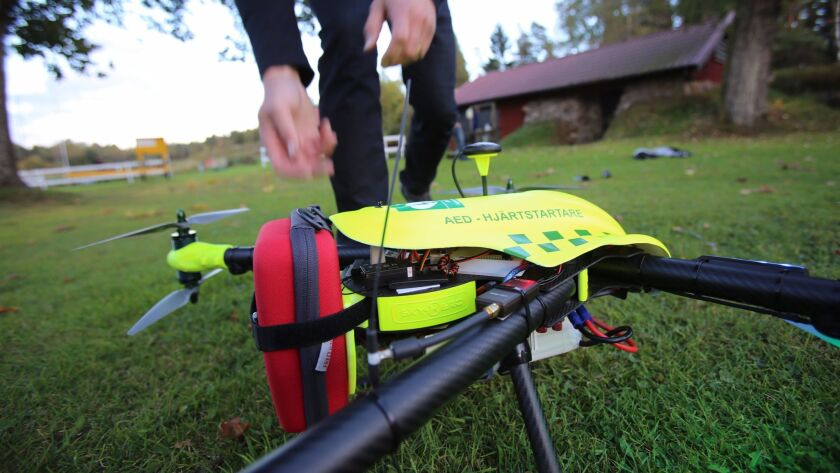 An AED is strapped to the back of the drone, which can fly at speeds of up to 47 miles per hour.