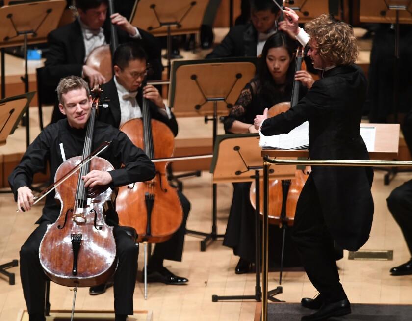 Conductor Santtu-Matias Rouvali conducts Dvorak's Cello Concerto with the LA Phil.