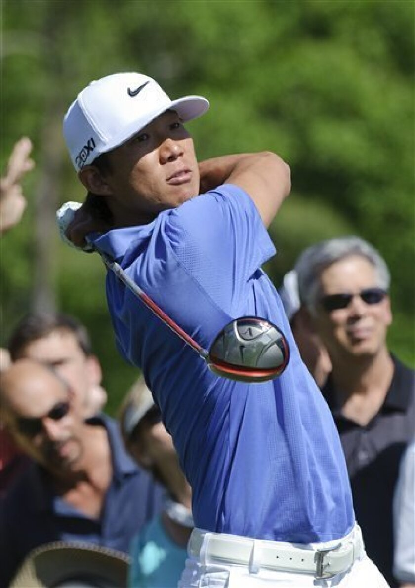Anthony Kim tees off the 13th hole during the first round of the Houston Open PGA Tour golf tournament on Thursday, March 31, 2011, in Humble, Texas. (AP Photo/Dave Einsel)