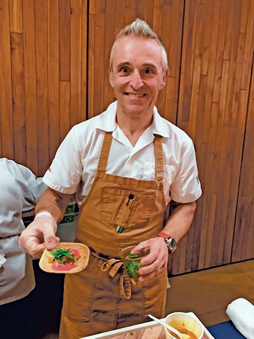 "Chef Giuseppe Ciuffa serves an Ahi tuna dish. He is the executive chef/owner of Giuseppe Restaurants and Fine Catering, with its latest restaurant being ""Candor By Giuseppe"" at 1030 Torrey Pines Road, Suite B, La Jolla. Scripps Institution of Oceanography's ""Fishing for the Future: A Celebration of Sustainable Seafood"" event was held Jan. 29, 2020 to benefit SIO's Marine Conservation and Technology Facility in La Jolla."