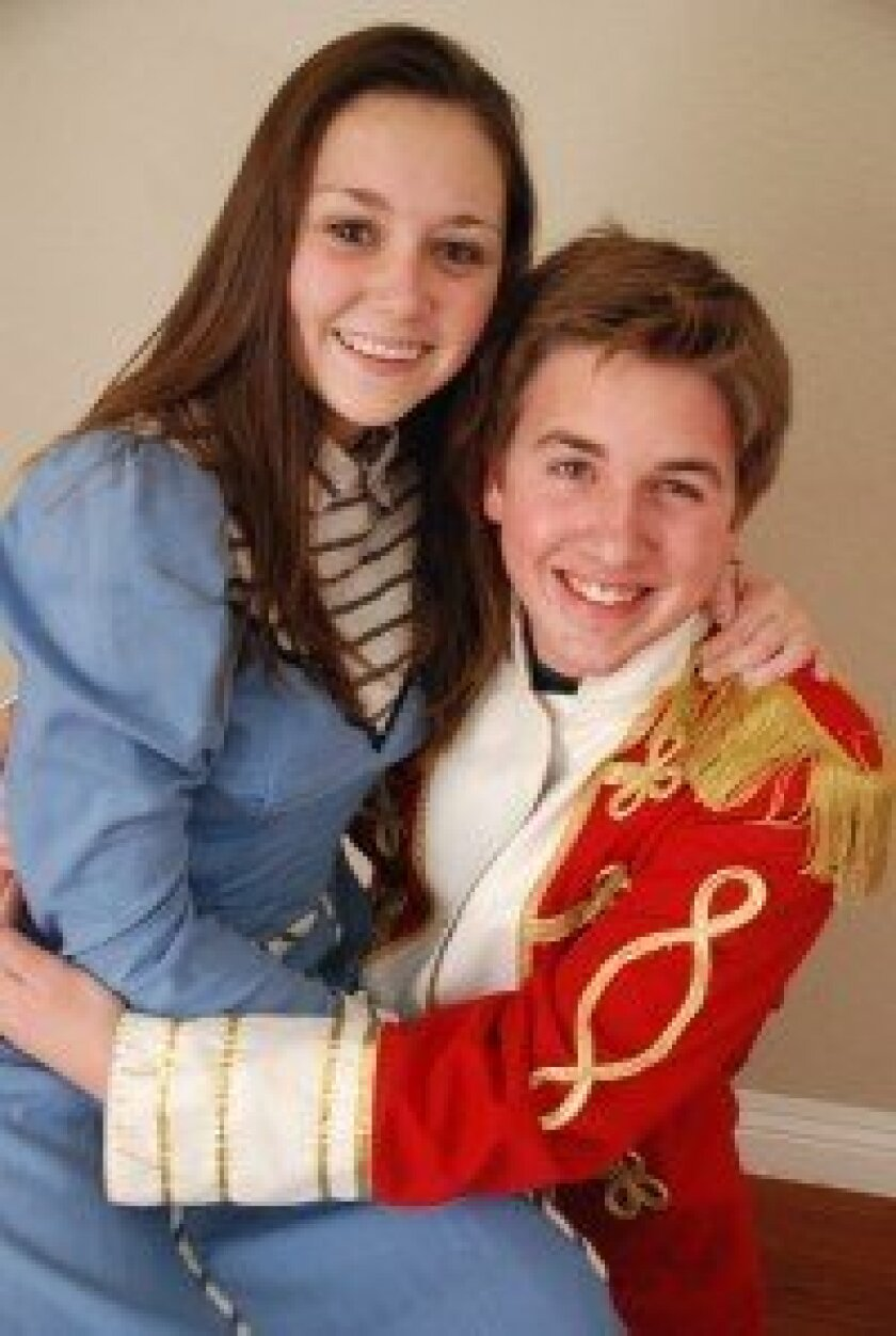"""Local residents Hannah Prater and Issac Randel perform the lead roles in Santa Fe Christian Schools production of """"The Music Man.""""."""