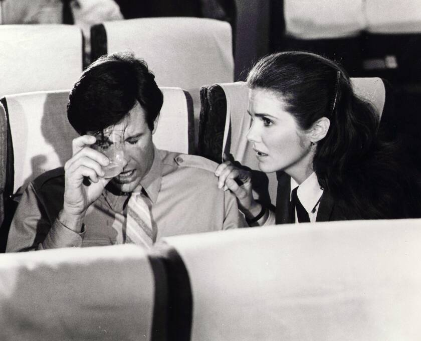 "Robert Hays and Julie Hagerty in the 1980 movie ""Airplane!"""