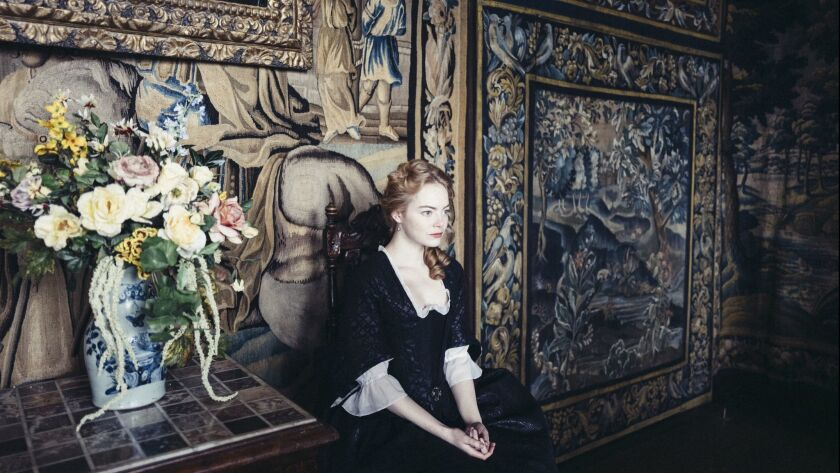 "Emma Stone in the film ""THE FAVOURITE."" Credit: Yorgos Lanthimos/ Twentieth Century Fox Film Corpora"