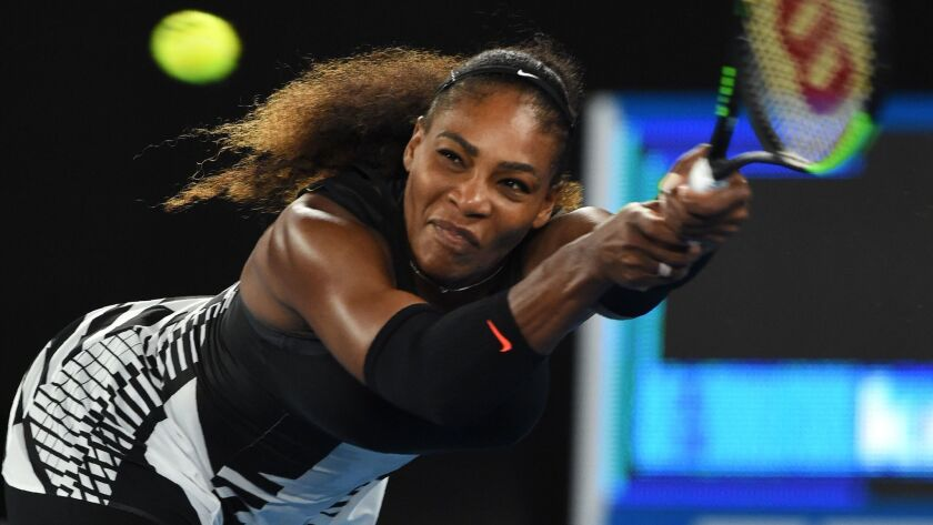 Serena Williams plays in the Australian Open in Melbourne on Jan. 28, 2017.