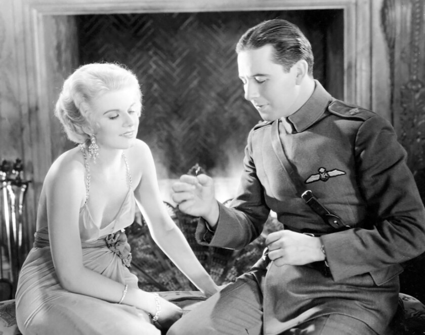"""Jean Harlow and Ben Lyon costar in the epic 1930 WWI drama """"Hell's Angels,"""" screening Tuesday at LACMA"""