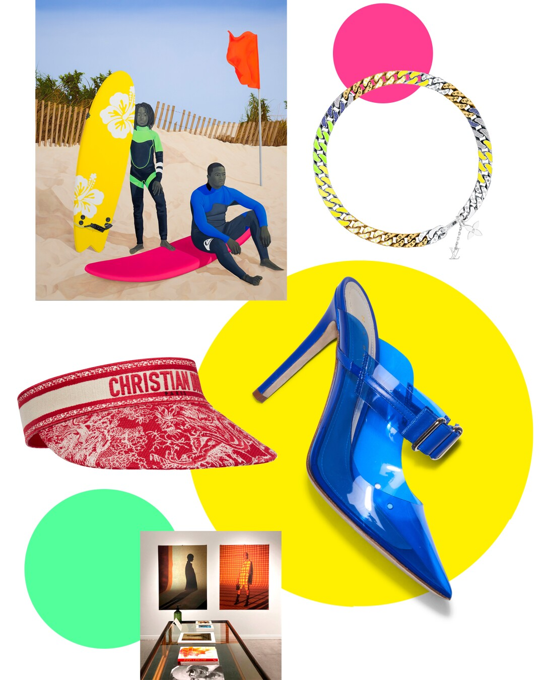 Collage of luxury items, an Amy Sherald painting of two Black surfers on a beach, a Dries Van Noten installation