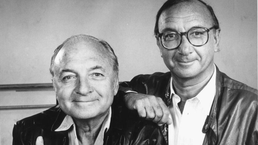 Danny Simon, left, a comedy writer who together with his brother Neil, right, in 1984.