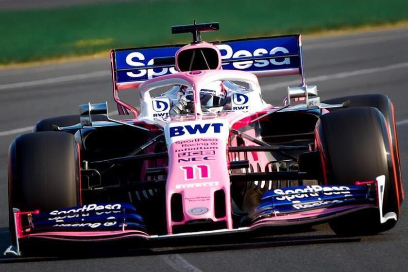 El piloto mexicano de Fórmula Uno Sergio Pérez de Racing Point en acción durante la sesión de calificación para el Gran Premio de Fórmula Uno de Australia 2019 en el Albert Park Grand Prix Circuit en Melbourne, Australia, hoy, 16 de marzo 2019. EFE