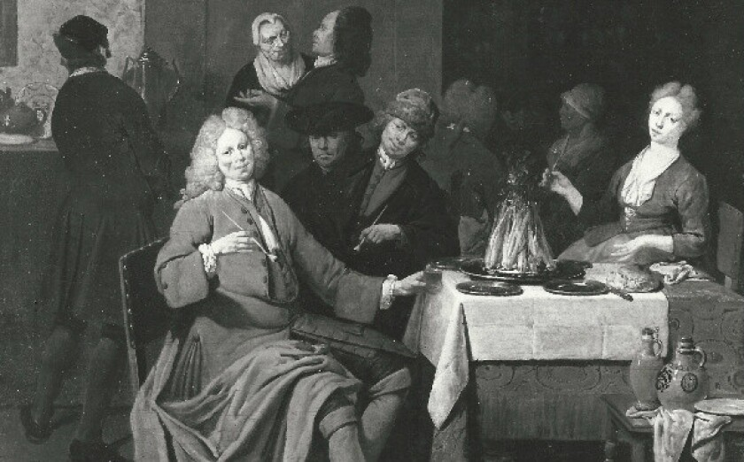 """A detail of Jan Baptist Lambrechts' """"Interior With Figures Smoking and Drinking."""""""