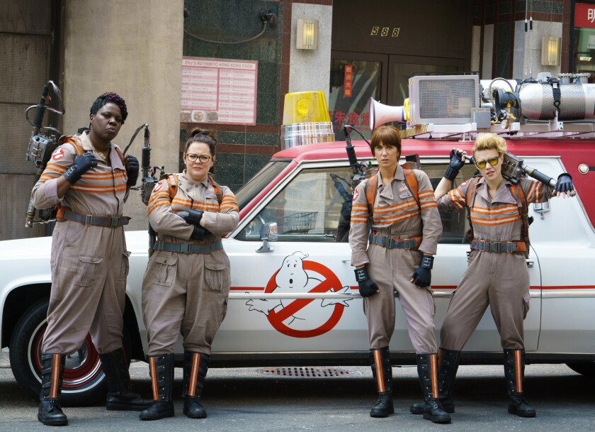 """From left, Leslie Jones, Melissa McCarthy, Kristen Wiig and Kate McKinnon from the film, """"Ghostbusters."""""""