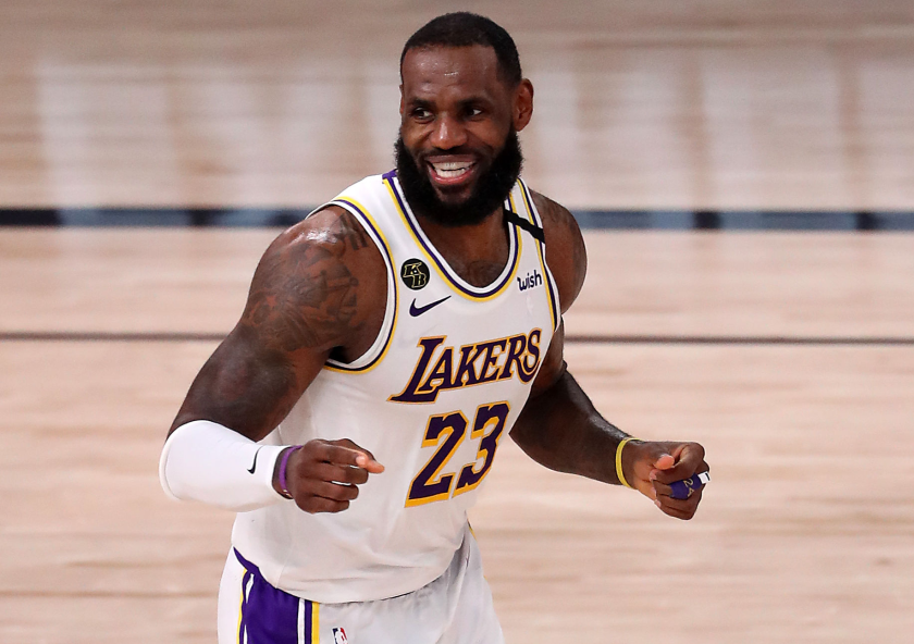 Lakers star LeBron James smiles during a game.
