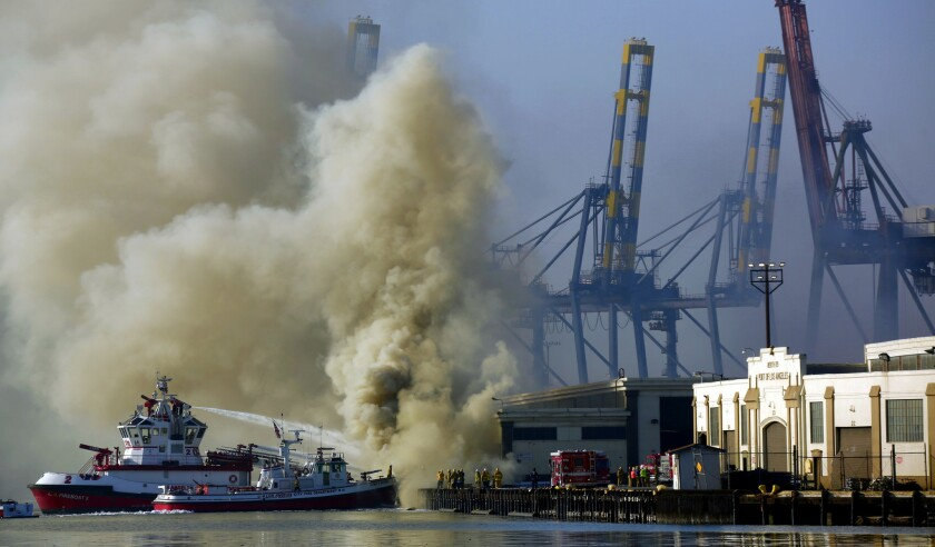 An LAFD boat fighting a fire at the Port of Los Angeles in September 2014.