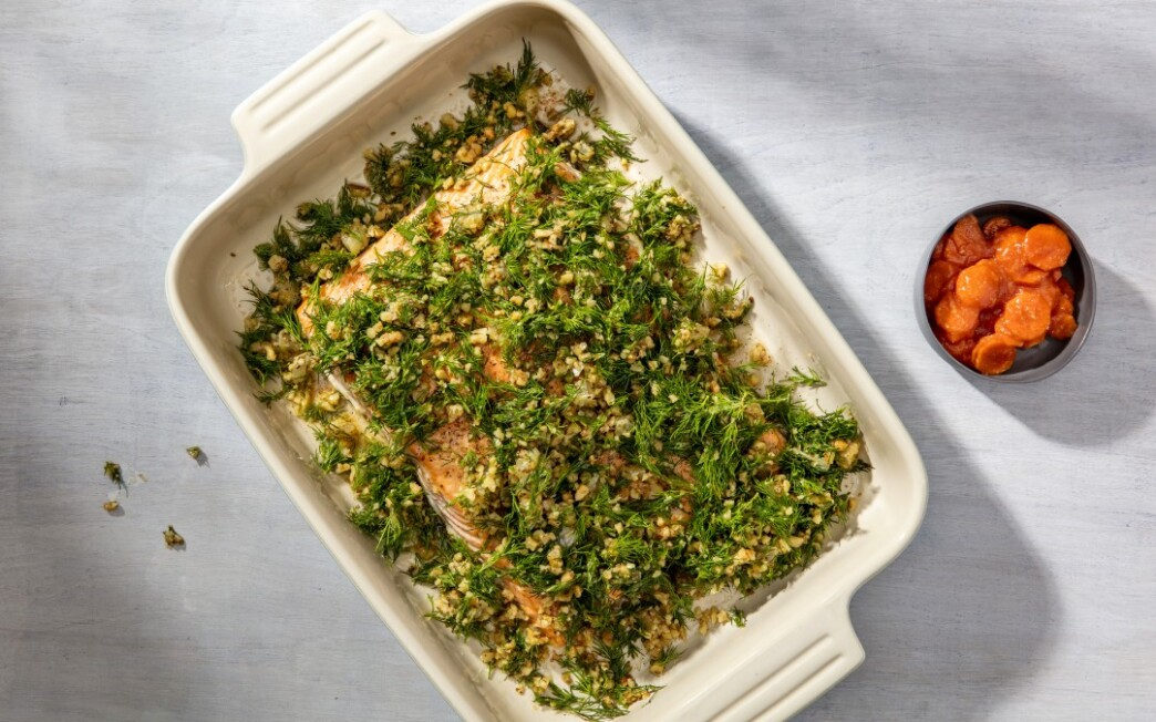 Slow-Roasted Salmon with Dill and Lemon Salsa Verde