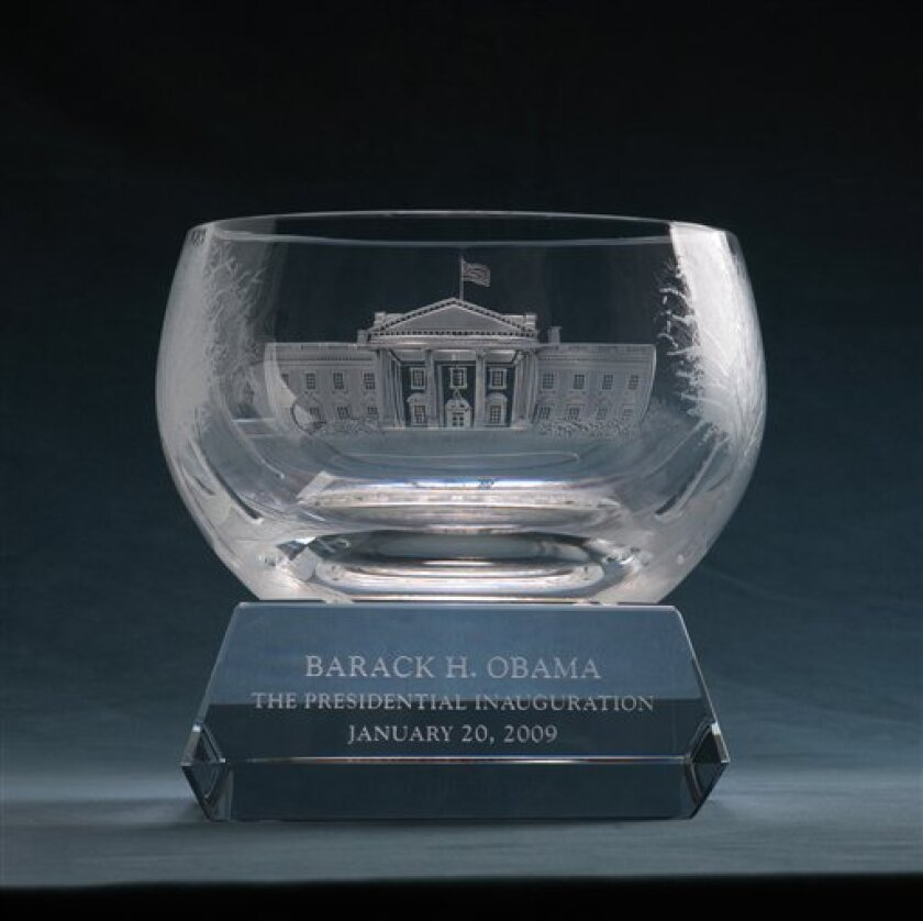 This undated handout photo provided by Lenox Inc. shows a hand-cut, crystal bowl with an etching of his new home in Washington. It will be Barack Obama's first official gift as president. (AP Photo/Lenox Inc.)