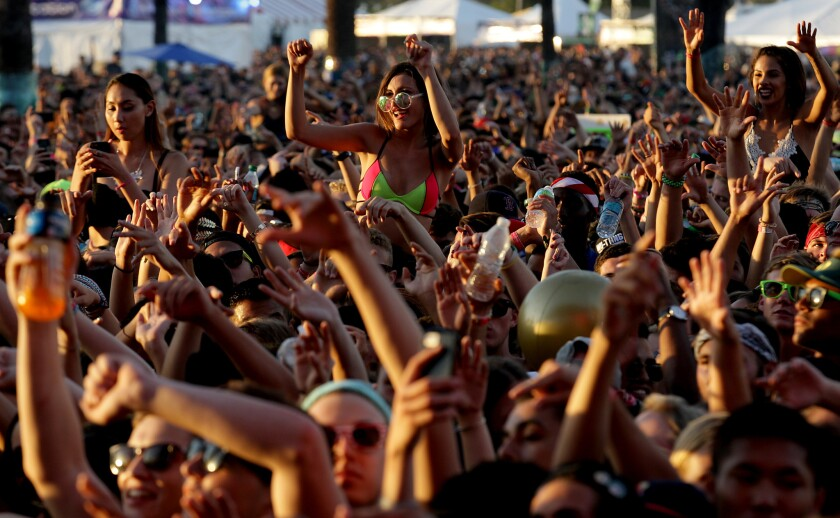Fans cheer a performance by Odesza during Hard Summer at the Fairplex in Pomona on Saturday.