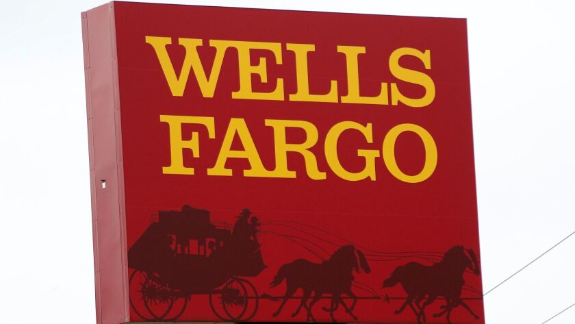 FILE - This April 11, 2017, photo shows a Wells Fargo bank in northeast Jackson, Miss. Wells Fargo a