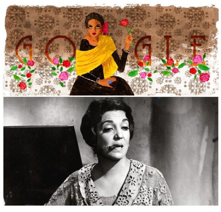 Combo de imágenes que muestra a la actriz mexicana Katy Jurado en una fotografía de archivo del 16 de agosto de 2001 y el doodle de Google México hoy, martes 16 de enero de 2017. EFE/Archivo EFE/Doodle de Google/SOLO USO EDITORIAL/NO VENTAS