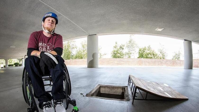Paraplegic skateboarder Robert Thompkins (foreground). (Kal Jama Barre)