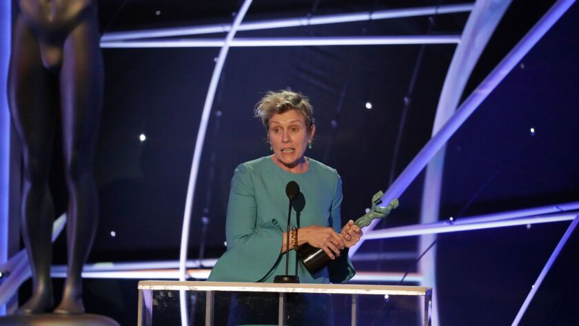 "LOS ANGELES, CA - January 21, 2018- Frances McDormand, ""Three Billboards Outside of Ebbing, Missouri"