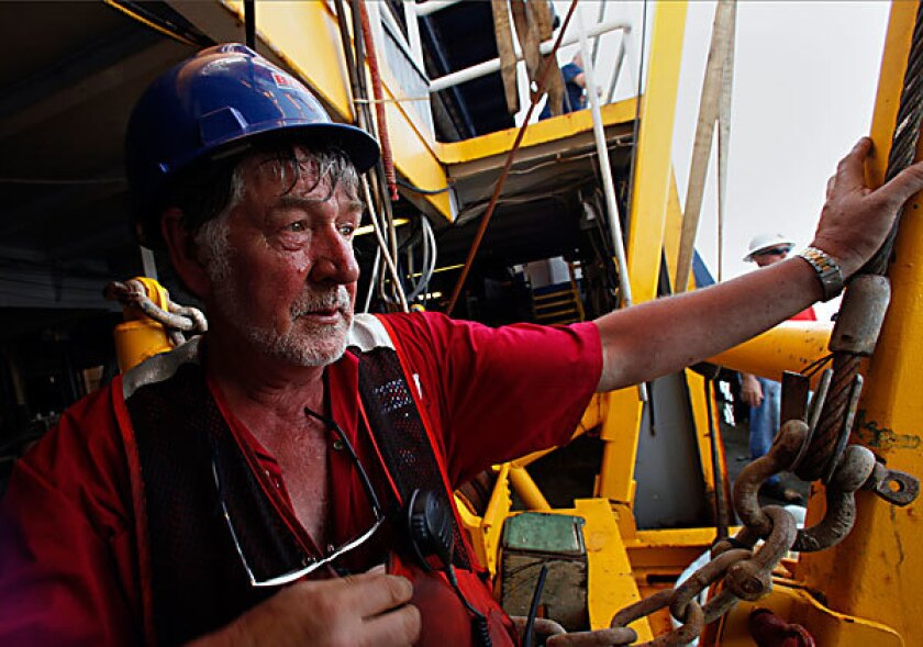 George Ross is part of a team working to burn oil on the surface of the Gulf of Mexico about 7 miles north of the leak.