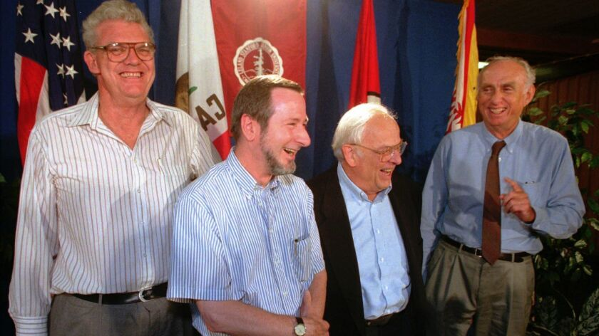 Nobel Prize winner Burton Richter, second from right, with other Stanford Nobel winners, from left, Richard Taylor, Douglas Osheroff, and Martin Perl.