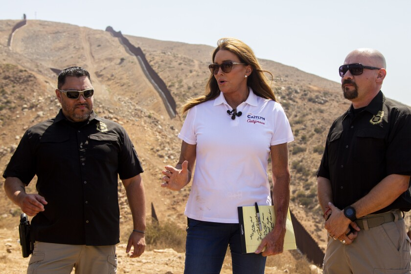 Governor candidate Caitlyn Jenner is led on a tour of the U.S.-Mexico border in Otay Mesa by Border Patrol union officials