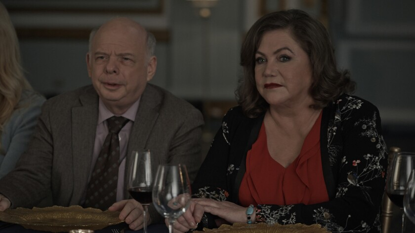 "(L-R) - Wallace Shawn and Kathleen Turner in a scene from ""Another Kind of Wedding."" Credit: Philipp"
