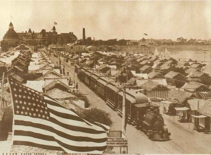 A postcard depicts a train moving through Coronado's Tent City in 1905, around the same time Alfred Redfern moved to Coronado.