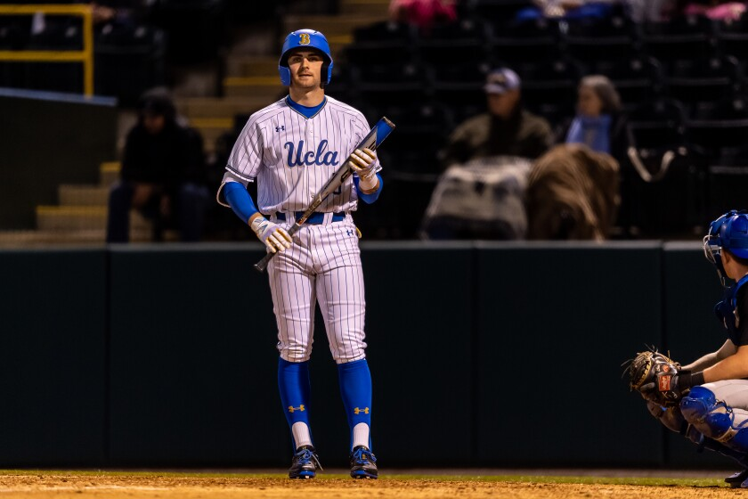 UCLA's Mitchell Garrett at the plate during the game.