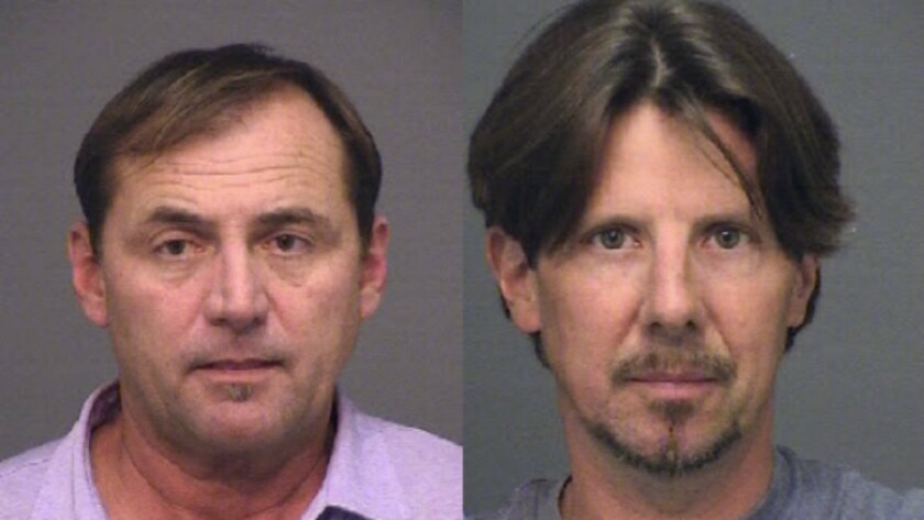 Wesley Lewison, left, and Gregory Roberts were arrested on suspicion of robbery and conspiracy.
