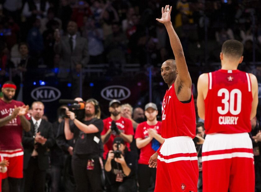Western Conference's Kobe Bryant, of the Los Angeles Lakers (24), reacts to the crowd as he leaves the game during second half NBA All-Star basketball action in Toronto on Sunday, Feb. 14, 2016. (Mark Blinch/The Canadian Press via AP) MANDATORY CREDIT