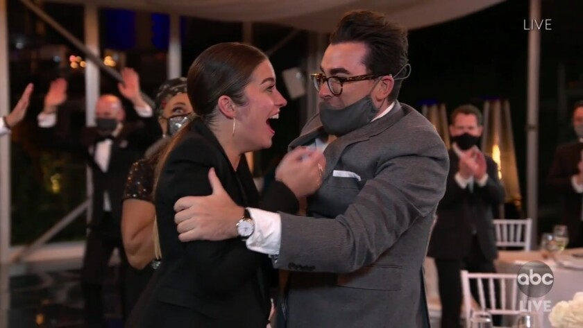 """Annie Murphy and Dan Levy after Murphy won the supporting actress in a comedy series Emmy for """"Schitt's Creek."""""""