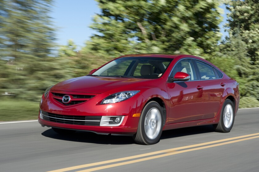 This 2011 Mazda6 sedan is one of 42,000 from the 2010-12 model years that Mazda is recalling due to the threat of spiders in the fuel tank.