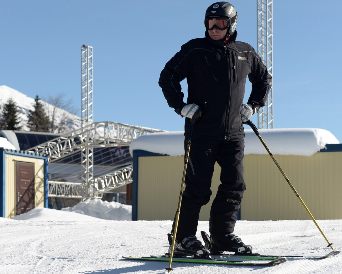 Russian President Vladimir Putin tests the alpine slope at Laura Stadium, designed to host cross-country skiing and biathlon events during the Winter Olympic Games in Sochi.