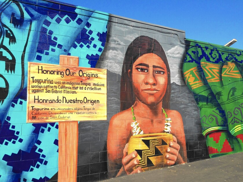 A recently completed mural of Toypurina, a Native American medicine woman who helped lead a revolt against the San Gabriel Mission in 1785.