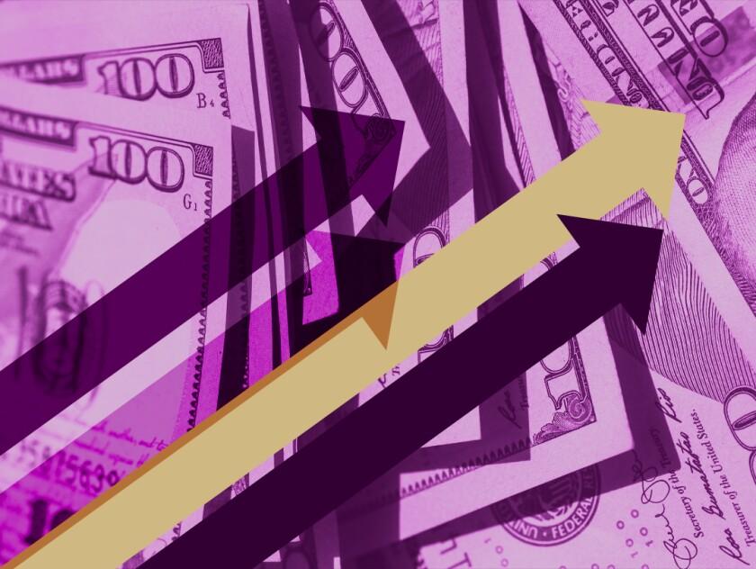 Four arrows angled upward against a backdrop of hundred-dollar bills