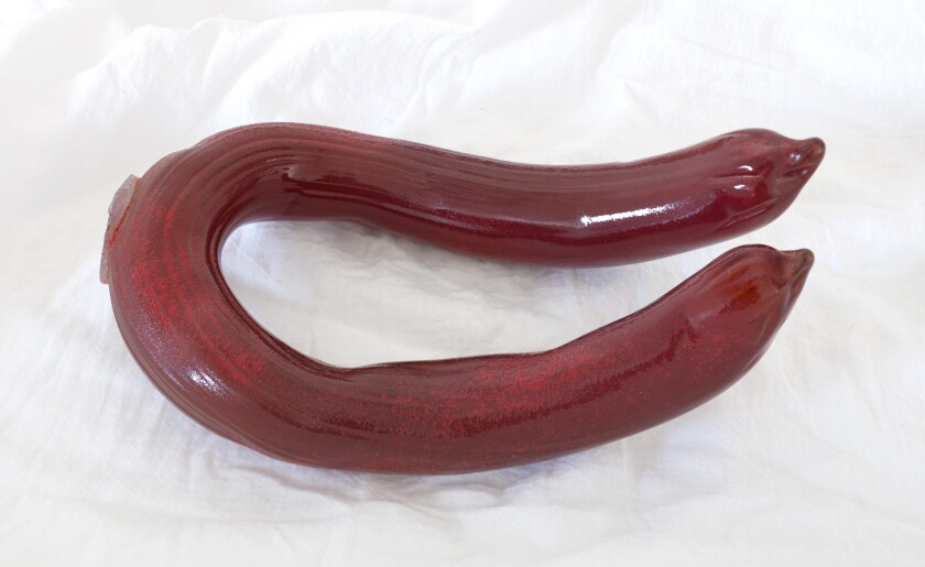 """""""Untitled (Sausage)"""" by Miyoshi Barosh, 2015. Glass, 11 inches by 6.5 inches by 4.25 inches"""