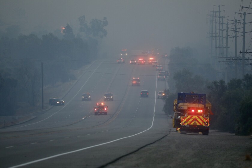 Smoke from the Easy fire reduces visibility on Tierra Rejada Road