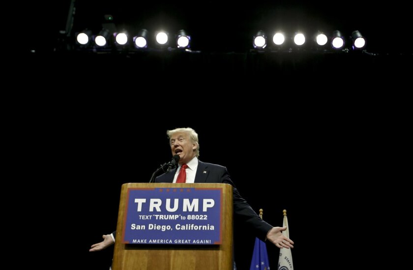 Republican presidential candidate Donald Trump speaks during a campaign rally, Friday, May 27, 2016 in San Diego. (AP Photo/Chris Carlson)