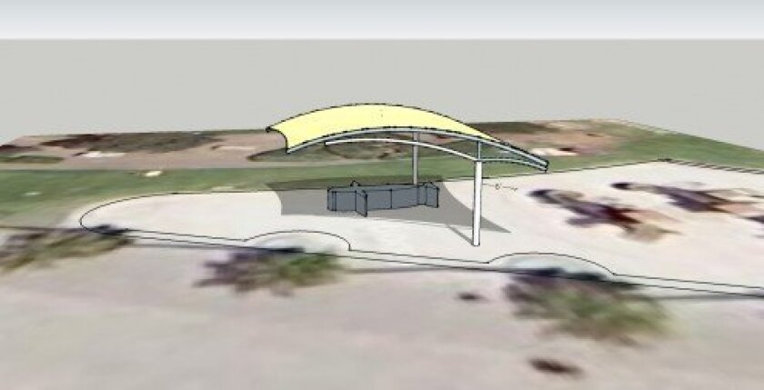 An architectural rendering of the shade structure. The mesh canopy will be sand colored to blend with panels on the playground.