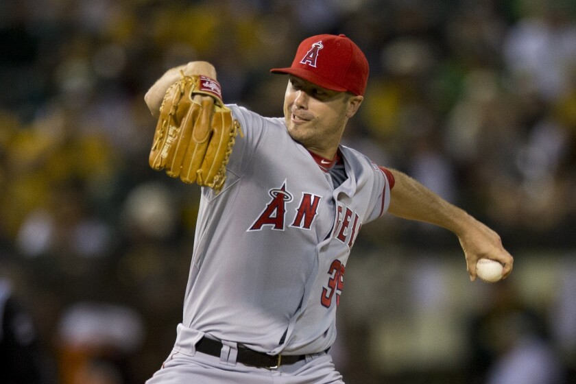 Wade LeBlanc held Oakland scoreless over 5 1/3 innings Tuesday night while scattering five hits. The Angels beat the Athletics, 2-0.