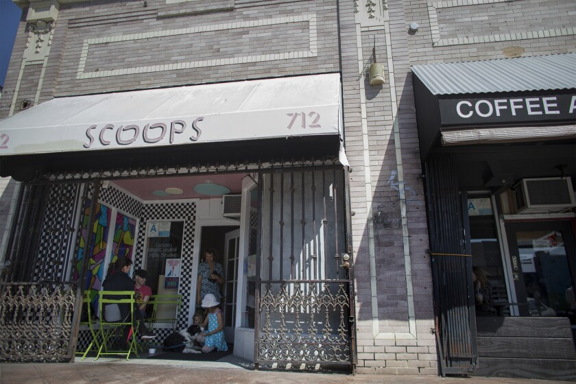 LOS ANGELES, CA - APRIL 2, 2015: Scoops ice cream is a popular neighborhood hangout on Heliotrope on