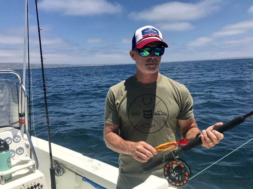 The unique mako fly-fishing blueprint in San Diego was pieced together by Conway Bowman, an Encinitas resident shown on his boat Thursday.