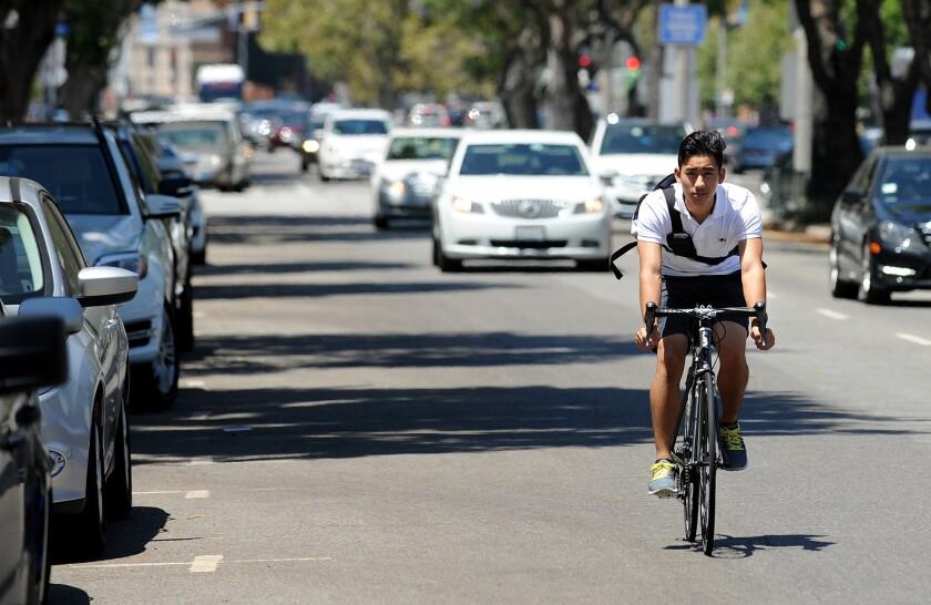 Bicyclist on Westwood Boulevard