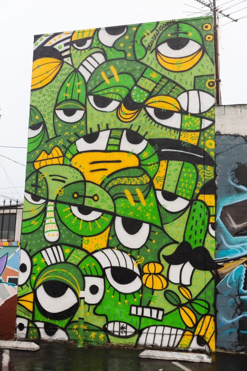 "Mural ""6 Feet Apart"" by international artist Sandra R. Escobar outside Super Cocina in City Heights."