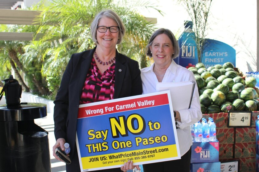 San Diego City Council President and La Jolla resident Sherri Lightner with One Paseo opponent and Community Planning Association trustee Janie Emerson.