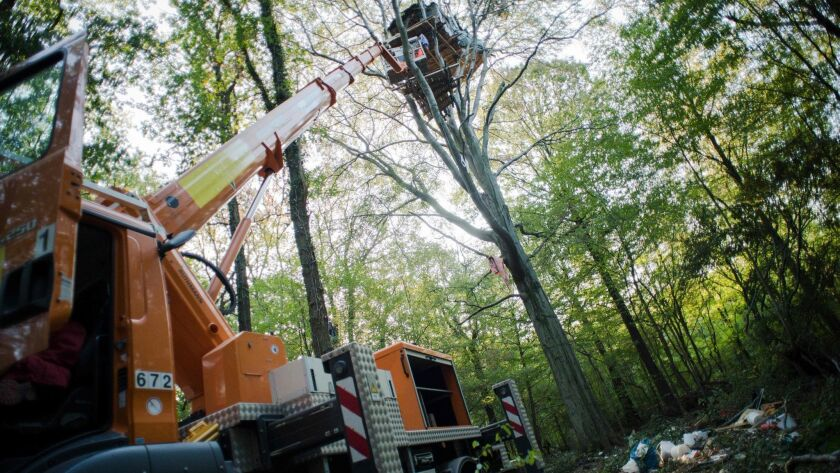A treehouse of environmental activists is torn down in the Hambach Forest near Cologne that is to be cleared for an open-pit mine. Activists seek to preserve the forest and they oppose the use of coal.
